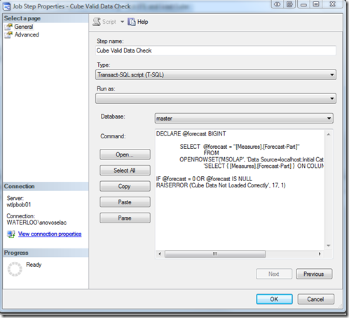 updating sql data cube in sql2005